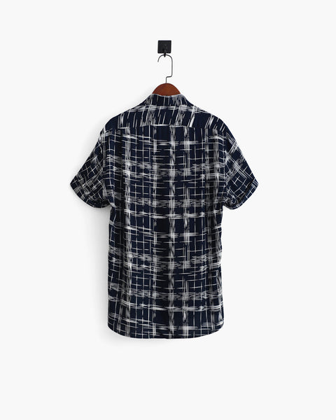 ROSEN-S Short Sleeve Shirt - Crosshatch Print Cotton