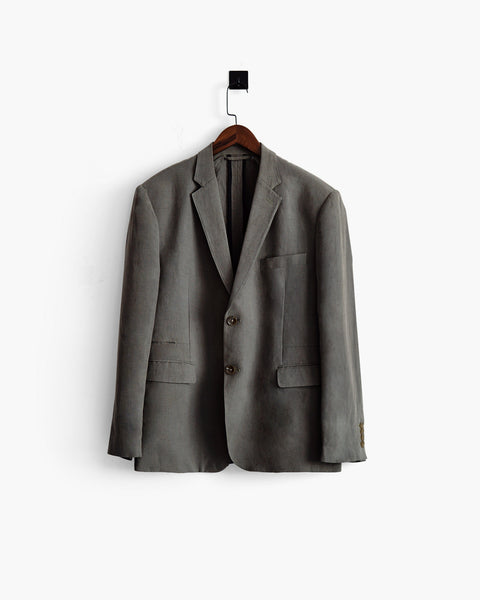 ROSEN-S Daily Suit Jacket - Olive Grey Silk Linen