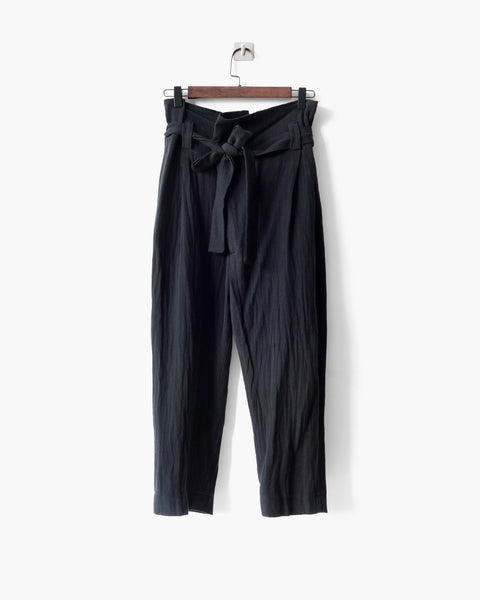 ROSEN Yeats Trousers in Black Crosshatched Linen