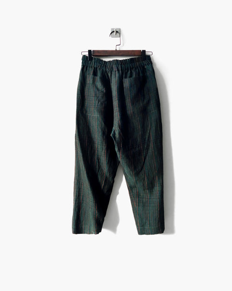 ROSEN Plato Trousers in Striped Green Linen