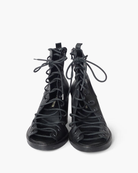 Ann Demeulemeester Leather Lace-Up Heels Sz 38