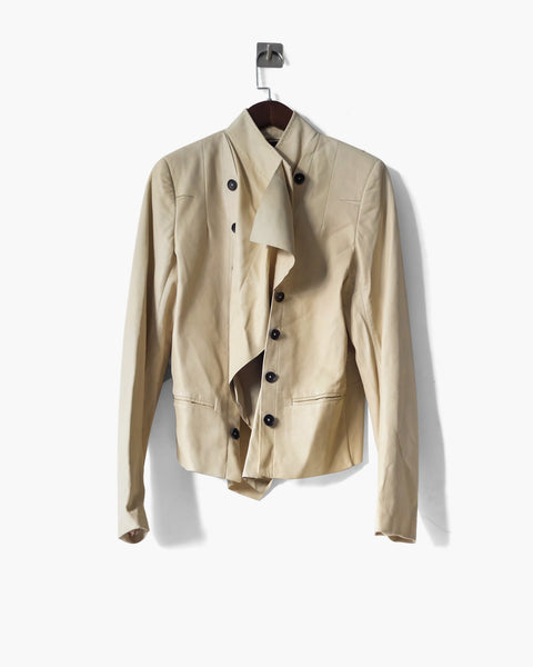 Ann Demeulemeester SS2012 Ivory Napoleon Leather Jacket FR 36
