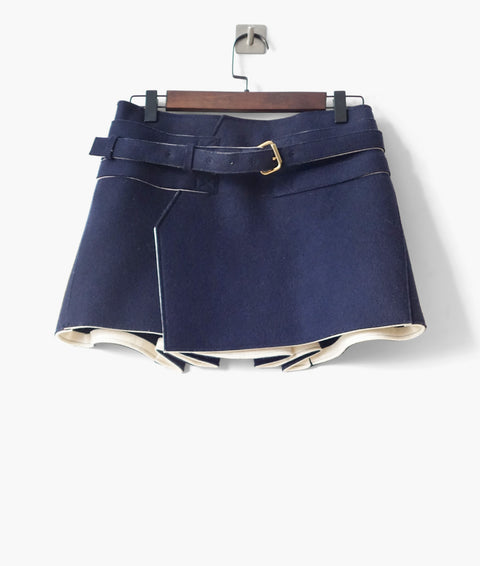 Balenciaga Felt Wool Mini Skirt FR 36