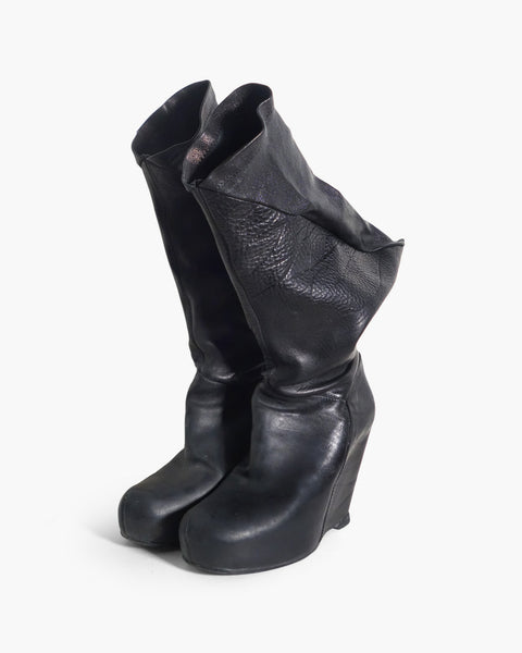 Rick Owens Sculptural Leather Wedge Boots Sz 38