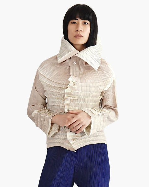 Issey Miyake Pleated High-Collared Button Down Shirt Sz 2