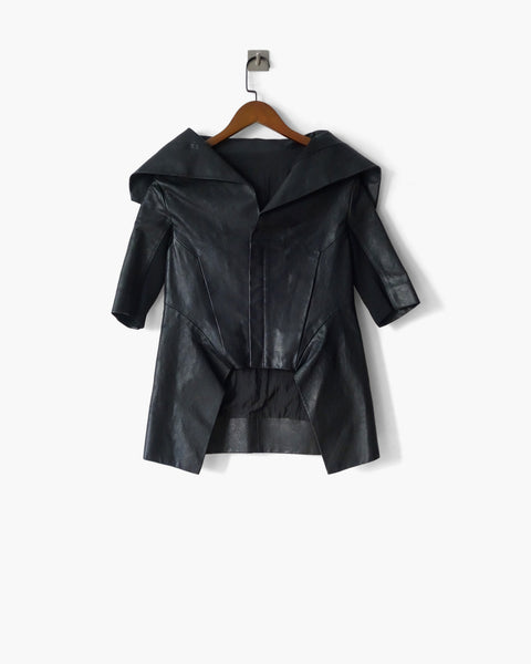 Rick Owens SS2011 High-Collared Leather Jacket IT 40
