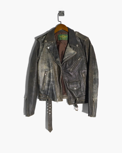 Vintage Leather Biker Jacket Fits XS-S