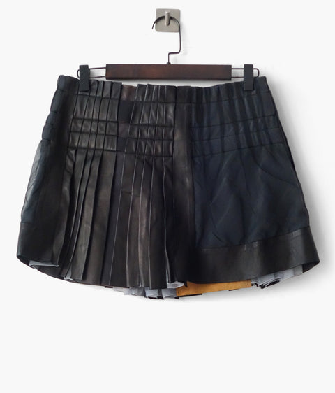 Balenciaga SS2010 Leather Pleated Mini Skirt FR 38