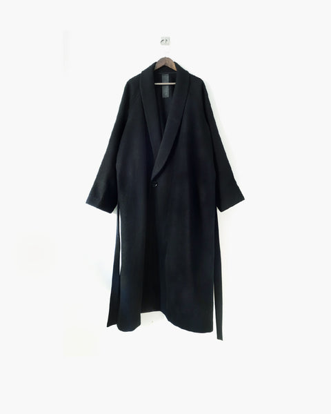 ROSEN Epicurean Robe in Black Wool