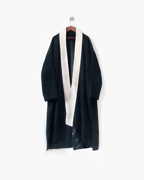 ROSEN Gaussian Coat in Black Wool Cashmere