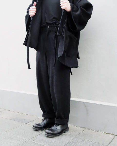 ROSEN Lao-Tze Trousers in Black Wool Cashmere