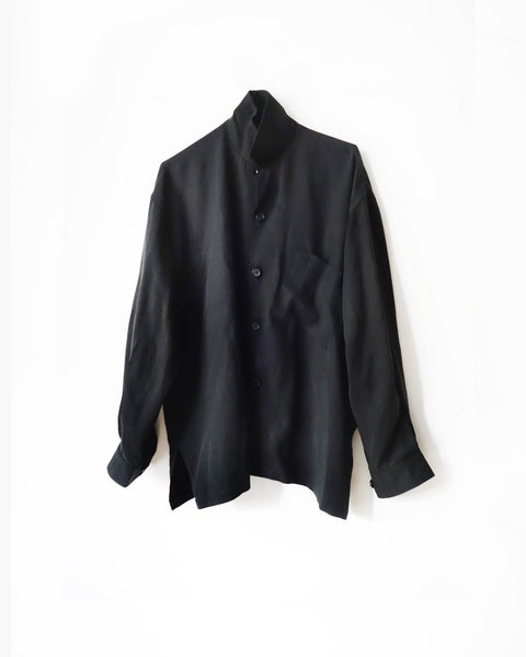 ROSEN Maxwell Shirt in Black Sandwashed Silk