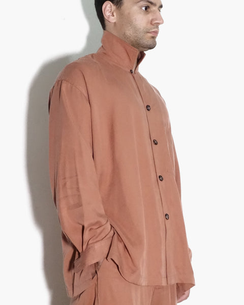ROSEN Maxwell Shirt in Salmon Pink Sandwashed Silk
