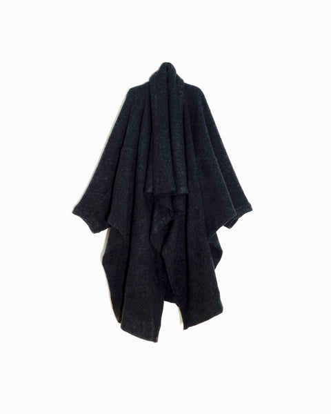 ROSEN O-Ren Coat in Black Boiled Wool