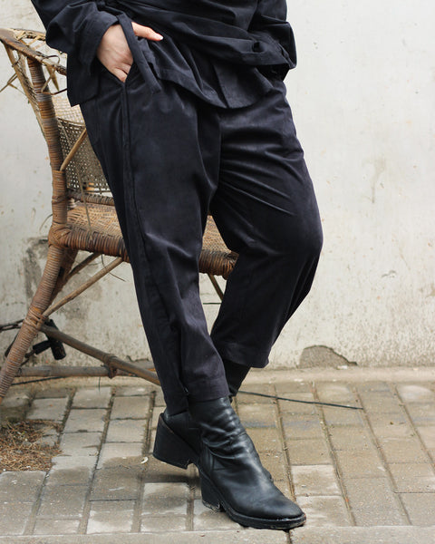 ROSEN Plato Trousers in Black Microsuede
