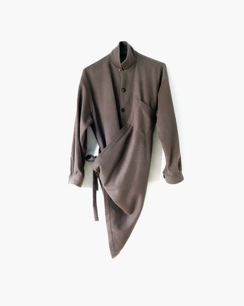 ROSEN Plato Overshirt in Taupe Wool Cashmere