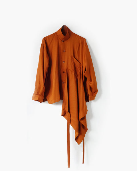 ROSEN Plato Shirt in Rust Sandwashed Silk