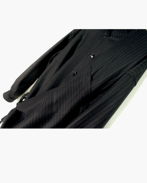 ROSEN Plato Shirt in Black Pinstripe Wool