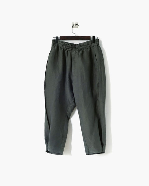 ROSEN Plato Trousers in Antique Green Silk Linen