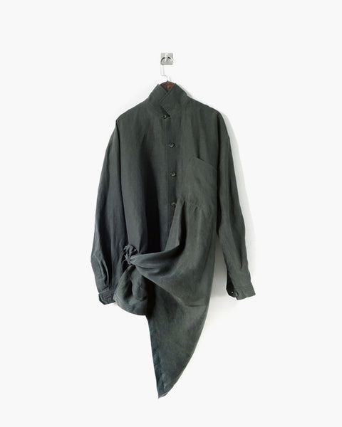ROSEN Plato Shirt in Antique Green Silk Linen