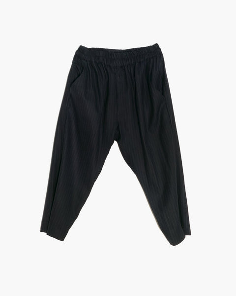 ROSEN Plato Trousers in Black Pinstripe Wool
