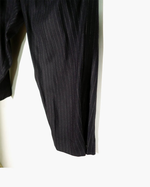ROSEN Plato Suit in Black Pinstripe Wool
