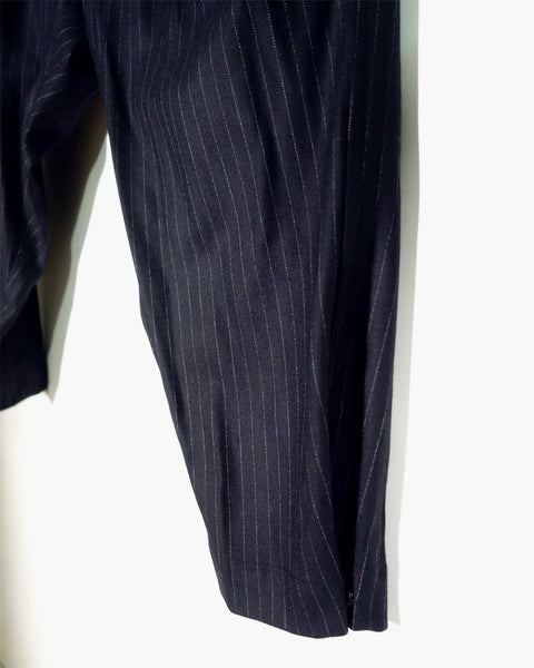 ROSEN Plato Trousers in Navy Blue Pinstripe Wool