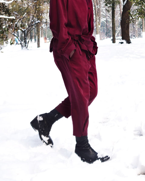 ROSEN Plato Trousers in Bordeaux Sandwashed Silk