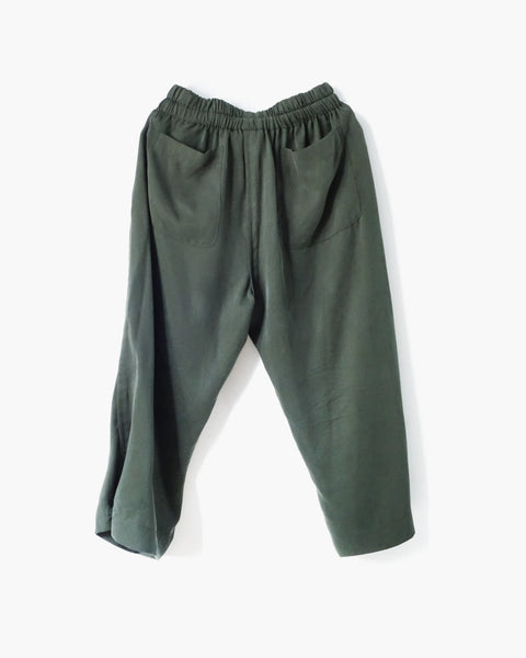 ROSEN Plato Trousers in Fatigue Green Sandwashed Silk