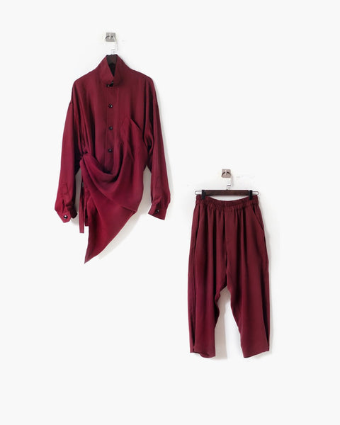 ROSEN Plato Suit in Bordeaux Sandwashed Silk