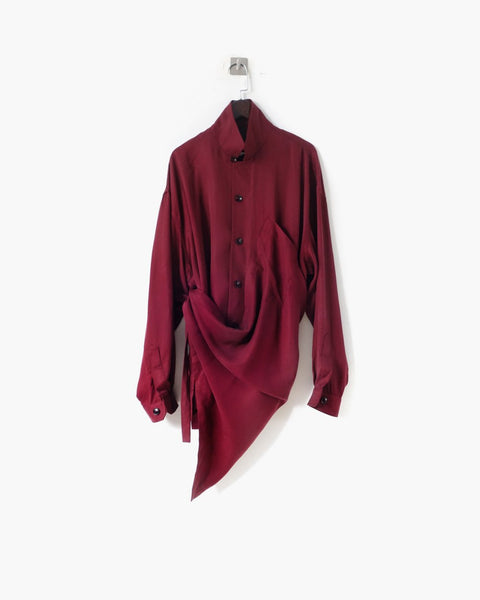 ROSEN Plato Shirt in Bordeaux Sandwashed Silk