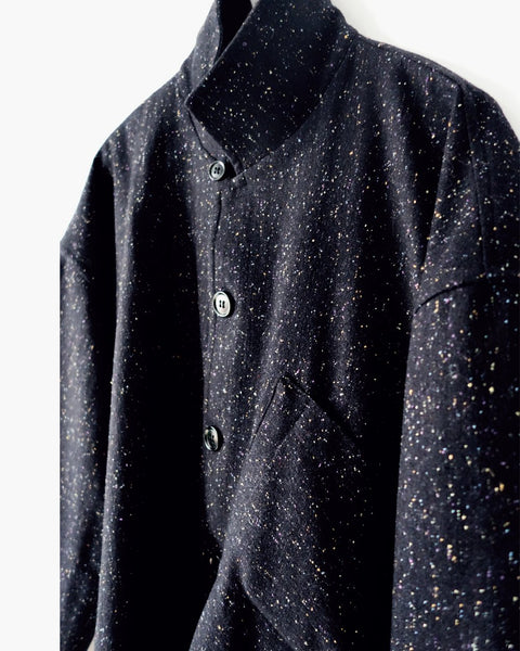 ROSEN Plato Shirt in Black Speckled Wool