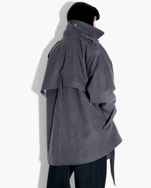 ROSEN Totoro Trench in Grey Microsuede