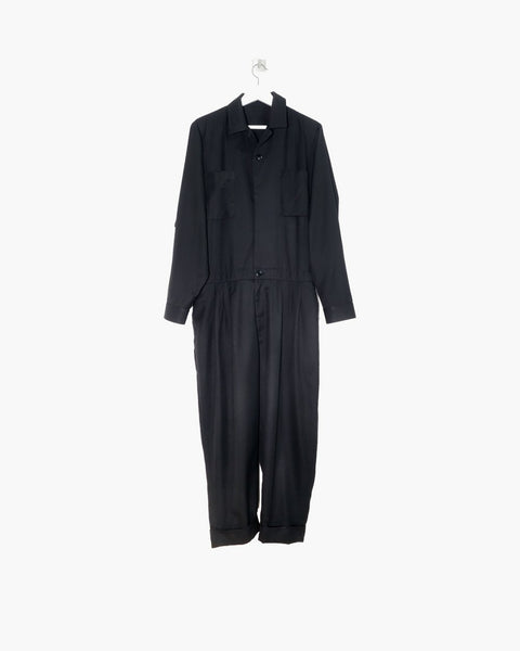 ROSEN Pollock Jumpsuit in Black Dry Wool