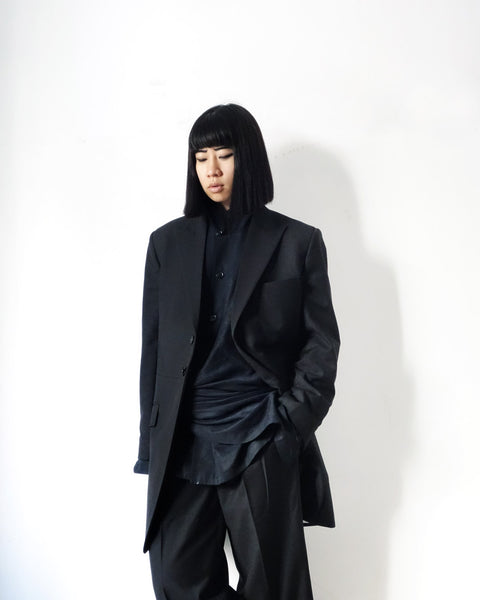 ROSEN Coltrane Jacket in Black Wool Twill