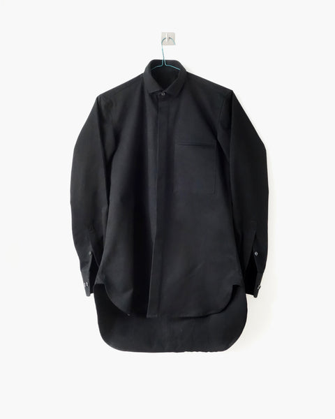 ROSEN Aalto Shirt in Black Cotton Twill