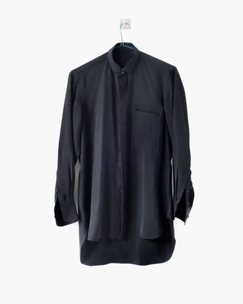 ROSEN Aalto Shirt in Black Sandwashed Silk