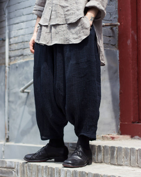 ROSEN Arjang Trousers in Navy Linen