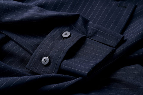 ROSEN Brontë Shirt in Pinstriped Navy
