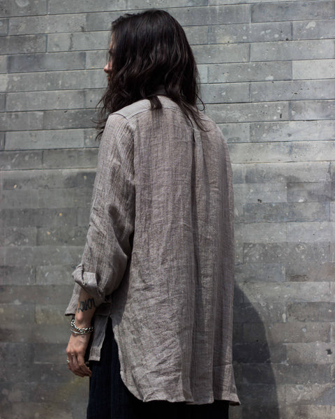 ROSEN Oliver Shirt in Grey Linen