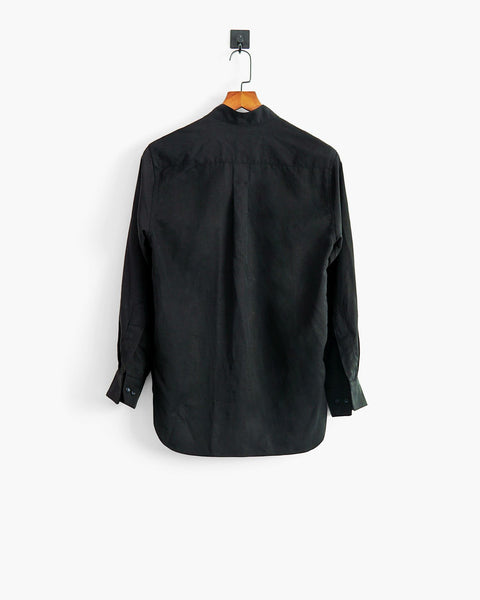 ROSEN Bentham Shirt in Black Silk Linen