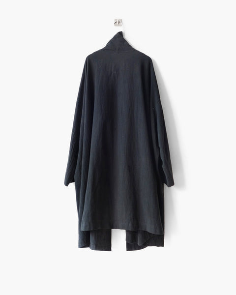 ROSEN Euclid Coat in Black Crosshatched Linen