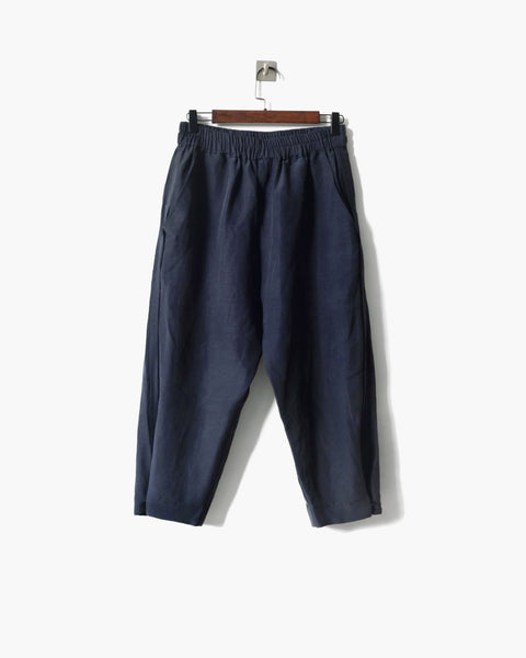 ROSEN Plato Trousers in Navy Silk Linen