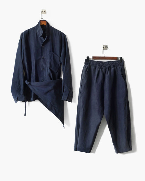 ROSEN Plato Suit in Navy Silk Linen