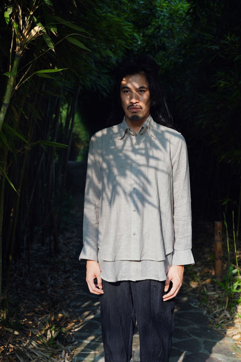 ROSEN Oliver Shirt in Light Grey Linen
