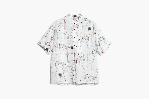 ROSEN-S Short Sleeve Shirt - Botanical Print Ramie