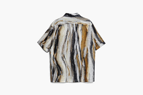 ROSEN-S Short Sleeve Shirt - Wave Print Ramie