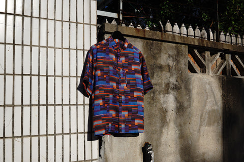 ROSEN-S Short Sleeve Shirt - Geometric Plaid Ramie