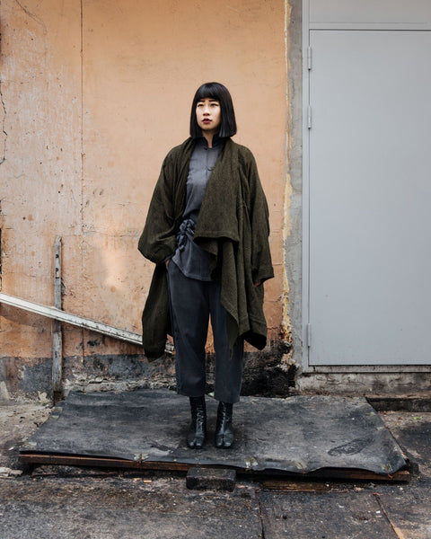 ROSEN O-Ren Coat in Olive Boiled Wool