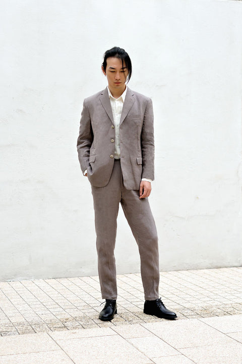 ROSEN-S Daily Suit Jacket - Taupe Grey Linen